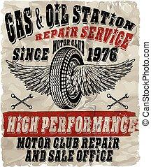 型, ガソリン, レトロ, サイン, そして, labels., ガス, station.