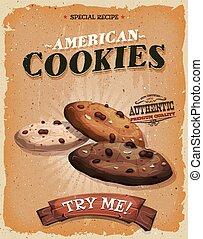 型, クッキー, グランジ, アメリカ人, ポスター