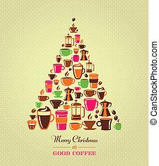型, クリスマスツリー, コーヒー, アイコン
