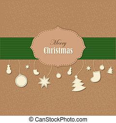 型, クリスマス, カード
