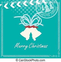型, クリスマス, テンプレート, 鐘