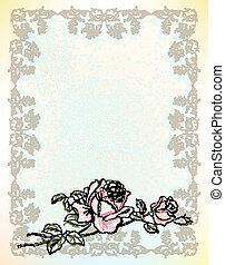 型, グリーティングカード, バラ