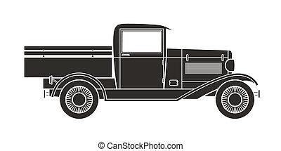 型, コレクション, トラック, レトロ, 自動車, ピックアップ