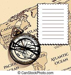 型, コンパス, 古代, 地図