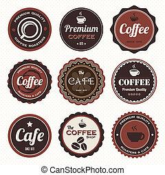 型, コーヒー, バッジ, labels.