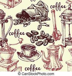 型, コーヒー, seamless, パターン