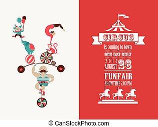 型, サーカス, 博覧会, ベクトル, 背景, ポスター, 楽しみ, カーニバル