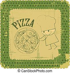 型, シェフ, デザイン, メニュー, カード, ピザ