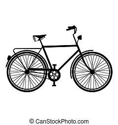型, シルエット, 自転車, 自転車, 隔離された