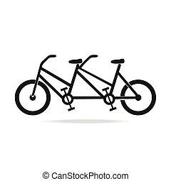 型, シンボル, タンデム, 自転車