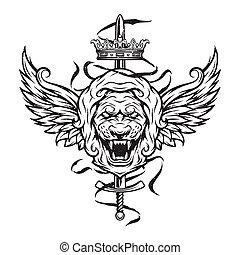 型, シンボル, ライオン, head.