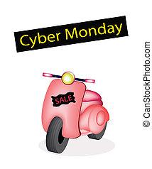 型, スクーター, 旗, cyber, 月曜日