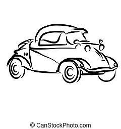 型, スケッチ, 概念, アウトライン, 自動車