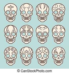 型, スタイル, セット, メキシコ人, 頭骨