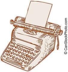 型, スタイル, 古い, エッチング, タイプライター