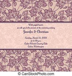 型, スタイル, 結婚式, ロマンチック, 招待