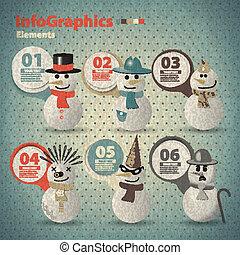 型, スタイル, infographic, snowmen, テンプレート