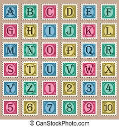 型, スタンプ, アルファベット