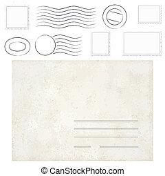 型, スタンプ, 封筒, 古い, 消印