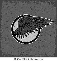 型, スポーツ, グランジ, 翼, ラベル