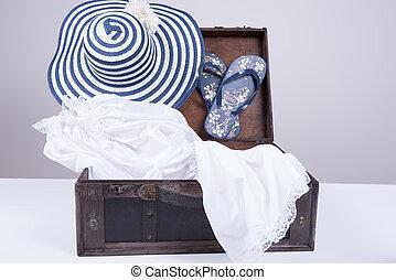 型, スーツケース, パックされた, 夏