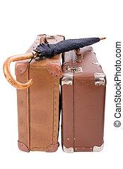型, スーツケース, 2, 傘