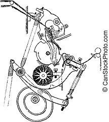 型, セクション, heilman, 羊毛, comber, engraving.