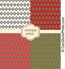 型, セット, パターン, 装飾, ダマスク織