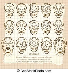 型, セット, メキシコ人, 頭骨, ポスター