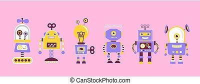 型, セット, ロボット, かわいい