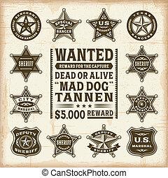 型, セット, 保安官, バッジ