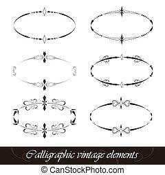 型, セット, 要素, calligraphic