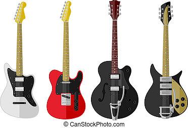 型, セット, 隔離された, ギター