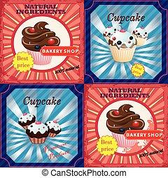 型, セット, cupcake
