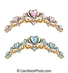 型, セット, diadems, 宝石類