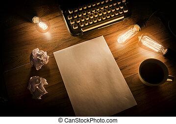 型, タイプライター, 机