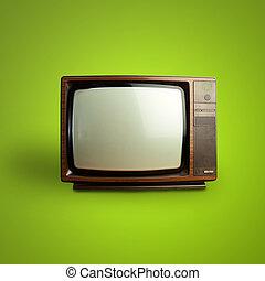 型, テレビ, 上に, 緑の背景