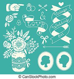 型, デザインを設定しなさい, elements., 結婚式
