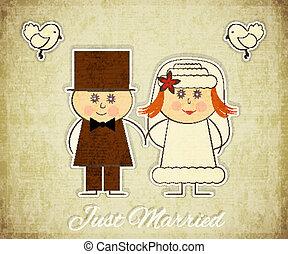 型, デザイン, カード, 結婚式