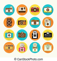 型, デザイン, ベクトル, カメラ, アイコン