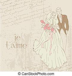 型, -, デザイン, 招待, 結婚式, スクラップブック, お祝い, カード