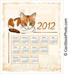 型, トラネコ, ショウガキャット, カレンダー, 2012