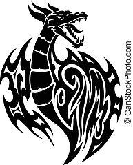 型, ドラゴン, 入れ墨, engraving.