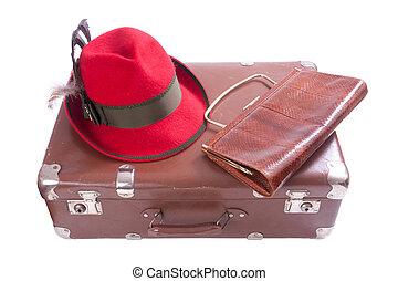 型, ババリア人, スーツケース, 伝統的である, 袋, クラッチ, 帽子