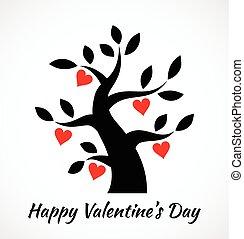 型, バレンタイン, 木, 黒, valentin, 心, icon., 日, 赤