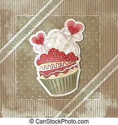 型, バレンタイン, cupcake