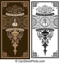 型, バロック式, 紳士, card., 装飾