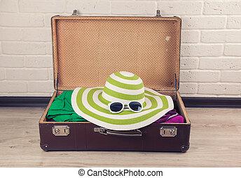 型, パックされた, スーツケース