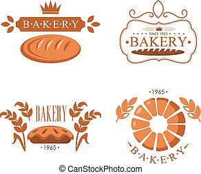 型, パン屋, ラベル