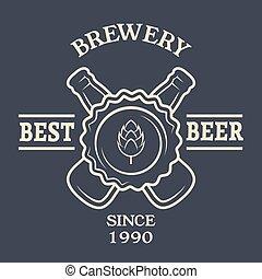型, ビール瓶, 2, emblem.